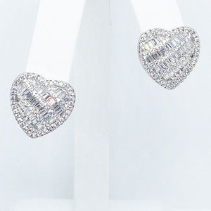 Jewelry - Diamond Heart Sterling Silver Filled Earring Studs